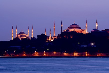 Istanbul - Hagia Sophia and Blue Mosque at night