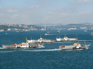 Bosphorus with Ferries